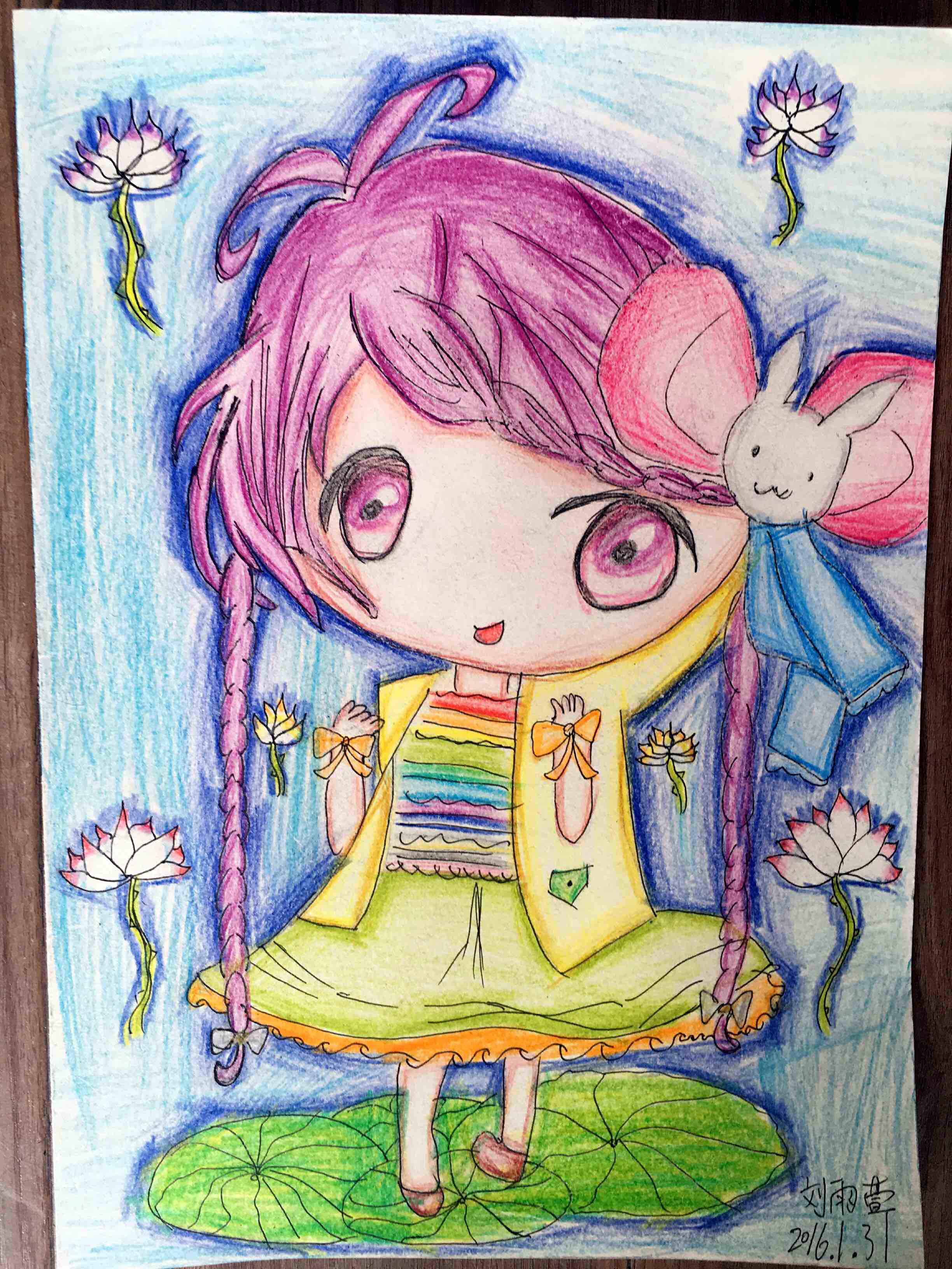 儿童彩铅画素材